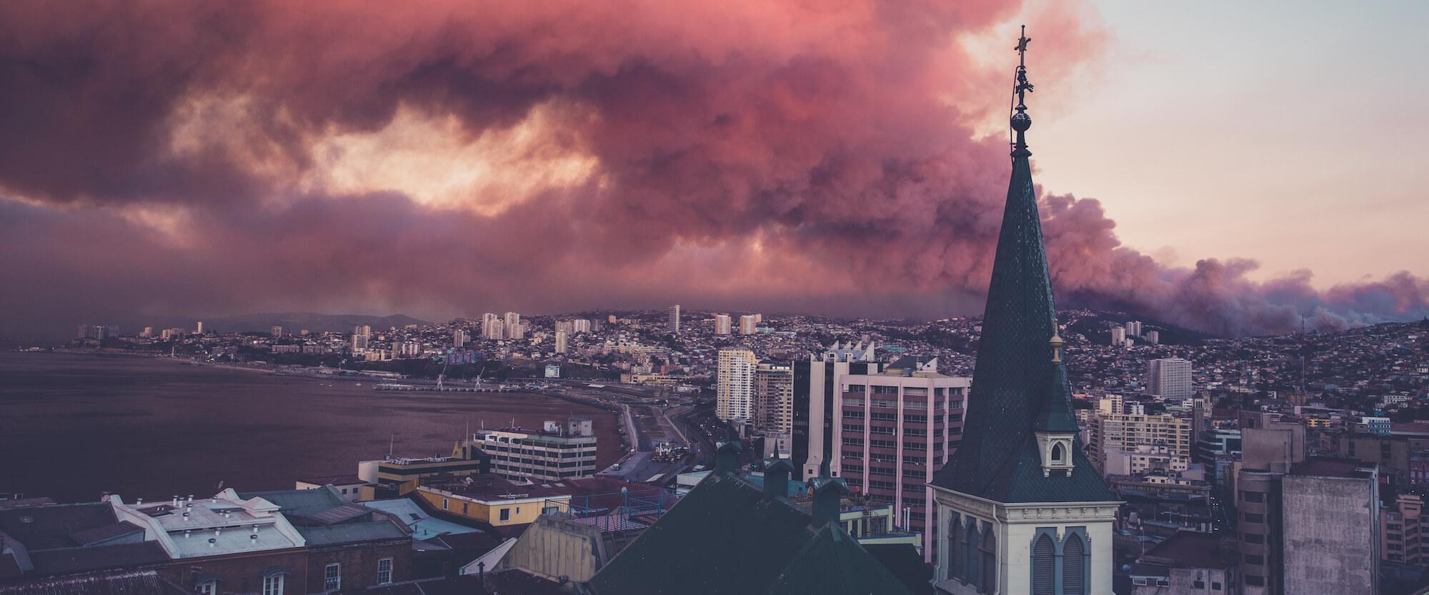 Smoke rising across Western City
