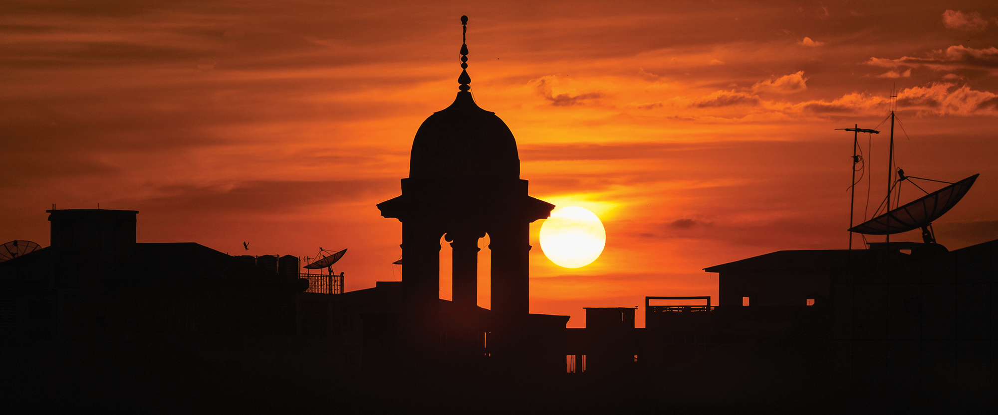 Sunset in Middle Eastern village